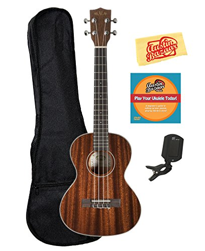Kala KA-TG Glossed Mahogany Tenor Ukulele Bundle with Gig Bag, Tuner, Austin Bazaar Instructional DVD, and Polishing Cloth by Kala