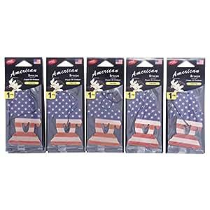 American Breeze Organic Air Freshener, US Flag - Vanilla - Set of 5