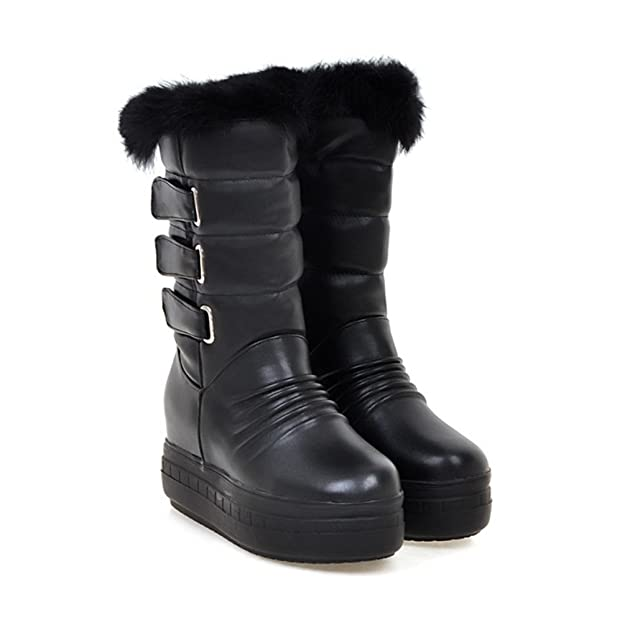 f62c86c827f75e Damen Flaumig Keilabsatz Unsichtbar Erhöhung Halbschaft Stiefel Schwarz 36  EU SHOWHOW
