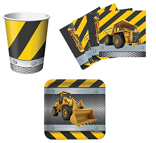 Construction Zone Birthday Party Supplies Set Plates Napkins Cups Kit for 16 -