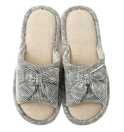 Cattior Femmes Coton Arc Mignonne Mesdames Pantoufles À Bout Ouvert Chaussures De Maison Gris Foncé
