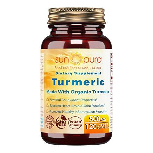 Sun Pure Premium Quality Organic Turmeric 500 mg Veggie Capsules Glass Bottle 120 Count -Traditional Ayurvedic Herb -Powerful Antioxidant and Anti-inflammatory Properties -Joint Health Support