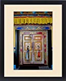 Framed Print of India, Jammu a Kashmir, Ladakh, a brightly painted and decorated door at Shey
