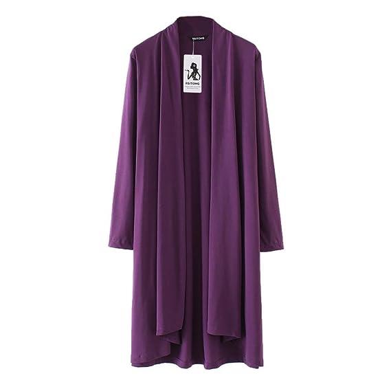 QinMM Chaqueta Cárdigan para Mujer Lisos, Blusa Sudadera Ropa de Playa Bikini Cover up Kimono