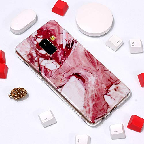 for Samsung Galaxy A8 2018 Marble Case with Screen Protector,Unique Pattern Design Skin Ultra Thin Slim Fit Soft Gel Silicone Case,QFFUN Shockproof Anti-Scratch Protective Back Cover - Red Texture by QFFUN (Image #3)