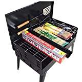 BBQ Grill Tools Set,11-pc. Grill+ Grill Mat + Brush+ Barbecue clip+Skewers+Aluminium Foil. Portable Folding Barbecue Compact Charcoal Grill For Camping Outdoor-Promethfire