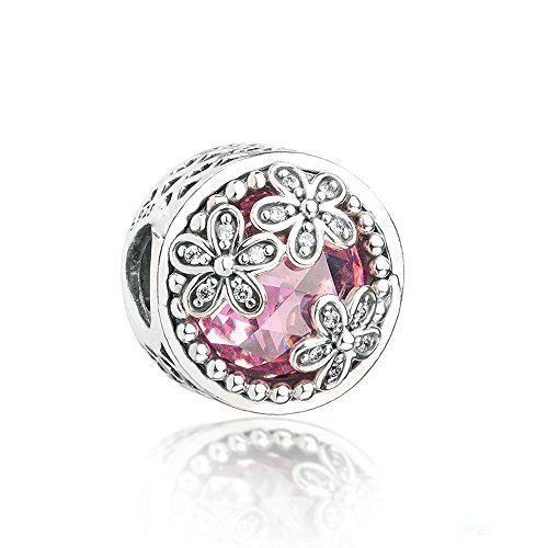 FASHICON Spring Collection Pink Dazzling Daisy Meadow 925 Sterling Silver Charm Bead DIY Fits for European Bracelets Jewelry (Pink Silver Charm)
