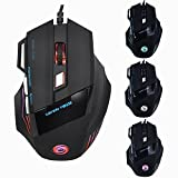 Gaming Mouse Wired USB 5500 DPI 7 Buttons with 7 Colors LED Backlit Optical Computer Mouse By Pendoo