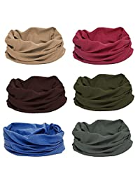 BMC 6pc Dark Solid Color Multifunctional Seamless Head Bandanna Neckwear Scarf