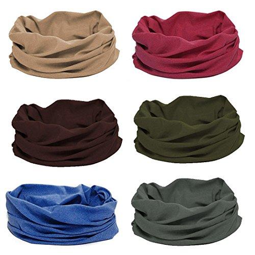 BMC 6pc Mixed Designs Seamless Bandanna Headwear Scarf Wrap Sets