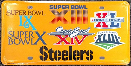 Pittsburgh Steelers 6X Super Bowl Champions Aluminum License Plate Tag Football