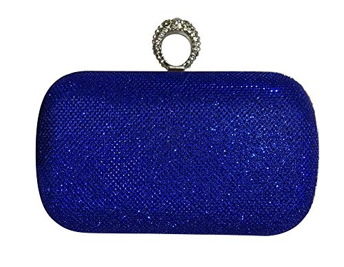 Chicastic Glitter Metallic One Ring Clutch Evening Purse With Rhinestones - Blue