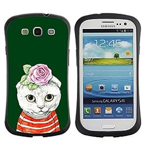 LASTONE PHONE CASE / Suave Silicona Caso Carcasa de Caucho Funda para Samsung Galaxy S3 I9300 / Kit Cat Kitten Rose Green Absurd