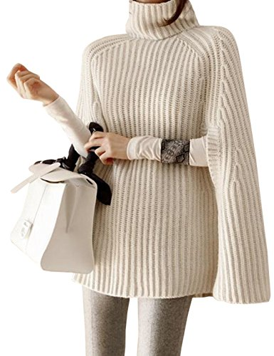 Yimoon Womens Turtleneck Soft Knitted Poncho Pullovers Sweater