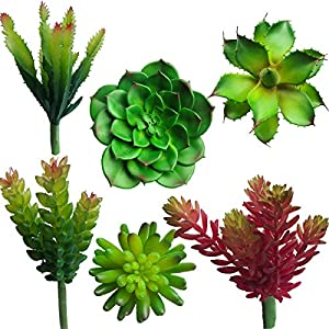 Uyue Decorative Faux Succulent, Fake Plants Artificial Succulent Cactus Plants Unpotted for Floral Arrangement Home Decoration,Set of 6 103
