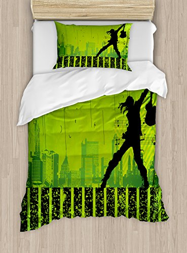 Ambesonne Popstar Party Duvet Cover Set Twin Size, Music in The City Theme Singer with Electric Guitar on Grunge Backdrop, Decorative 2 Piece Bedding Set with 1 Pillow Sham, Lime Green Black