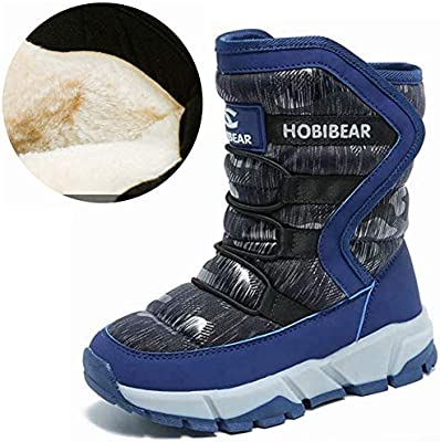 satisfied Boy /& Girls Snow Boots Winter Outdoor Waterproof Fur Lined Shoes Toddler//Little Kid//Big Kid