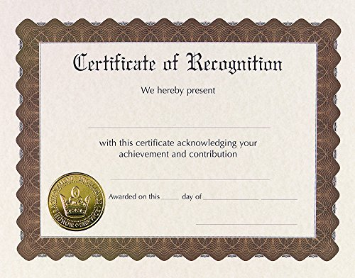 Great Papers! Recognition Certificate Pre-Printed, Gold Foil and Embossed, 8.5