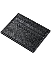 Soft Leather Men Short Wallets Credit Card Holder Wallets Purse 6 Card Slots Simple Wallet, Black-QB52-1