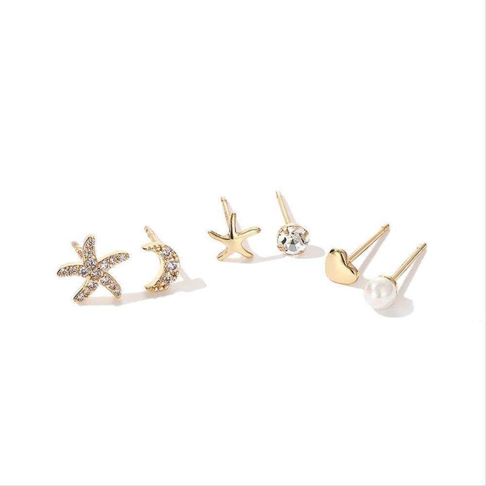 VTYILES Mini Ear Bone Nail Studs Temperamento Femenino Multi-Ear Pendientes Combinación Conjunto De 6 Piezas Simple Y Compacto