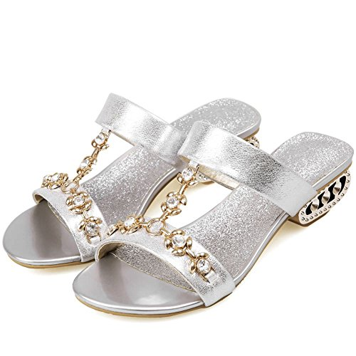 Open Slide DoraTasia Silver Beach on Square Slingback Women's 4 Low Sandals Shoes Slip Heel Rhinestone Summer Toe Slipper Yp7xYr