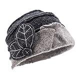 Lawliet Two-Tone Womens Ladies Winter 1920s 100% Wool Leaf Bucket Beret Cap Hat A375 (Dark Gray Top Light Gray Trim)