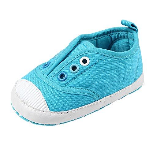 Fire Frog Baby Spring and Autumn Shoes - Zapatos primeros pasos de Lona para niño azul claro