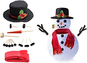 UTC Global Snowman Decorating Kit 16 Pieces Snowman Dress Up Kit Winter Party Kids Outdoor Toys Garden Decoration Set for Snowman Christmas Holiday Decoration Gift Build Your Own Snowman