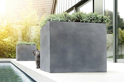 27 cm Beton Warm Emsa esteras Bac /à Fleurs RECTANGULAIRE pour Le Jardin en Fibre de Verre Rectangulaire H