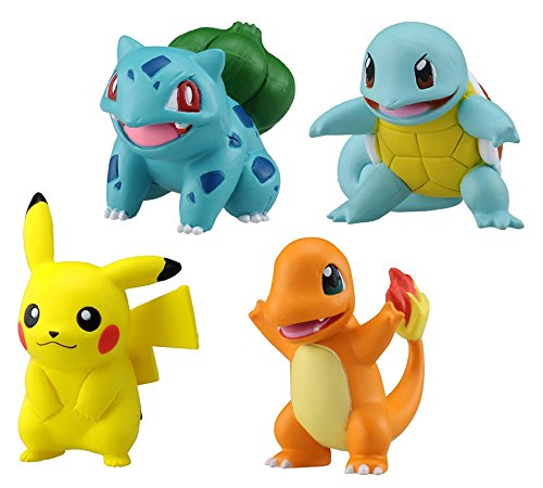 Takaratomy Set of 4 Pokemon Emc Figures-Pikachu, Bulbasaur, Charmander & Squirtle Action