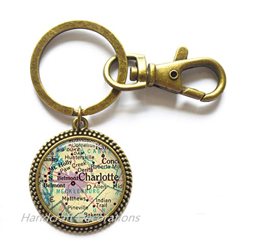 Charming Keychain Charlotte, North Carolina map Key Ring ,Charlotte NC map Keychain Charlotte map Key - Nc Us Charlotte
