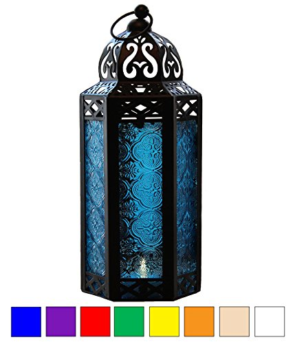 Blue Glass Moroccan Style Candle Lantern - Great for Patio, Indoors/Outdoors, Events, Parties and (Blue Decorative Glass)