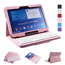 NEWSTYLE Samsung Galaxy Tab 4 10.1 Keyboard Case - Premium Muti-angle Stand Folio Cover Case with Slim Magnetically Detachable Bluetooth Keyboard For 10.1 inch Galaxy Tab 4 SM-T530 SM-T531 SM-T535 (Pink)