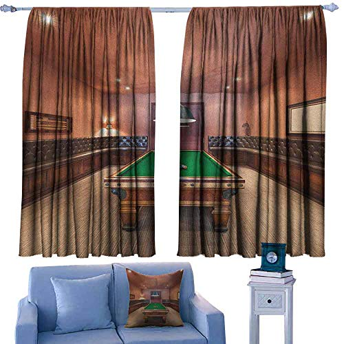Modern Noise Reduction Curtain Entertainment Room in Mansion Pool Table Billiard Lifestyle Photo Print for Living, Dining, Bedroom (Pair) 63