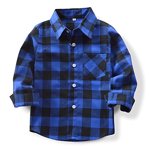 Baby's Boys' Girls' Long Sleeve Button Down Plaid Flannel Fashionable Shirt G005 Black Blue Tag 150CM - 7-8 Years ()