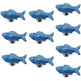 PsmGoods Europe Style Ceramic Fish Door Drawer Knobs Vintage for Dresser Kitchen Cabinet Cupboard Pulls Handles 10Pack Blue by PsmGoods