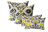 Set of 4 Indoor / Outdoor Pillows - 17'' Square Throw Pillows & 11'' x 19'' Rectangle / Lumbar Decorative Throw Pillows - Yellow, Gray, Black Ornate Floral