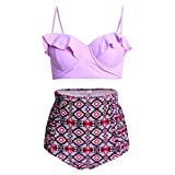 SYlive Women Vintage Polka Dot High Waisted Bathing Suits Bikini 2 Pieces (L, PAT3#)