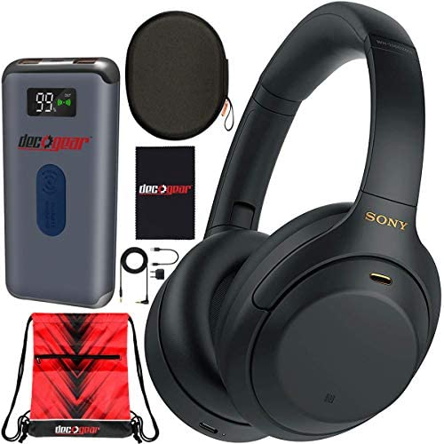 Sony WH-1000XM4 Wireless Industry Leading Noise Cancelling Over-Ear Headphones with Mic for Hands Free Calling and Alexa, Black WH-1000XM4/B Bundle w/Case + Deco Gear Power Bank Charger + Gym Bag