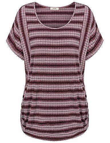 Dolman Shirts,Vivilli Women's Oversized Fitted Boat Neck Dolman Top Tee (Pink Linen Mix)