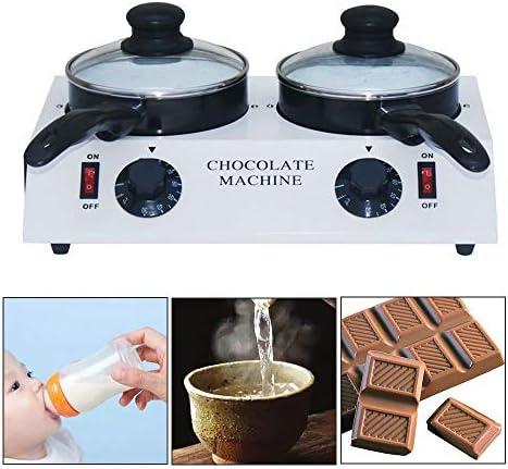 BLCVC Chocolate Melting Pot Electric Set Double DIY Heating Machine Heater Warmer (220V) (Double Ports)