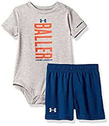Under Armour Boys\' Baby Bodysuit OR Infant Tee Shorts Set, Gray Heather, 24M