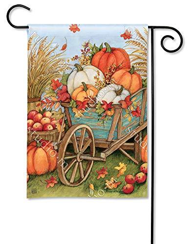 (BreezeArt Studio M Pumpkin Wagon Decorative Garden Flag – Premium Quality, 12.5 x 18 Inches)