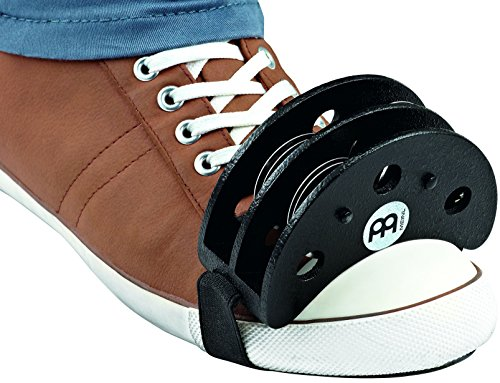 Meinl Percussion (AUTHENTIC VERSION) FJS2S-BK Cajon Player's Foot Tambourine with Steel Jingles (Ergonomic Guitar Strap)