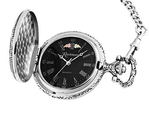 Mt.Rushmore Black Hills Silver Mens Eagle Pocket Watch