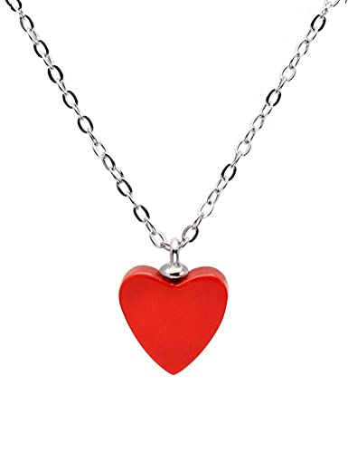 Tikiville 925 sterling silver heart shape red coral pendant necklace tikiville 925 sterling silver heart shape red coral pendant necklace18 incheschain rhodium plated aloadofball Images