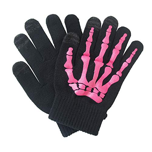 Glovion Skeleton Gloves Winter Gloves Touch Screen Gloves- Pink -