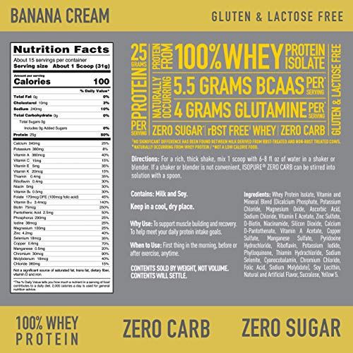 Isopure Zero Carb, Vitamin C and Zinc for Immune Support, 25g Protein, Keto Friendly Protein Powder, 100% Whey Protein Isolate, Flavor: Banana Cream, 1 Pound (Packaging May Vary)
