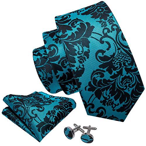 black and blue ties flower woven silk necktie set hanky cufflinks wedding business