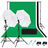 CRAPHY Photography Studio Lighting Kit 1250W 5500K Daylight Umbrella + Background Support Stand (10x6.5FT) + 3 Muslin Backdrops (White Black Green, 9x6FT)